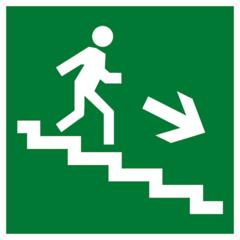 Е13 Эвакуационный знак - Направление к эвакуационному выходу по лестнице вниз направо