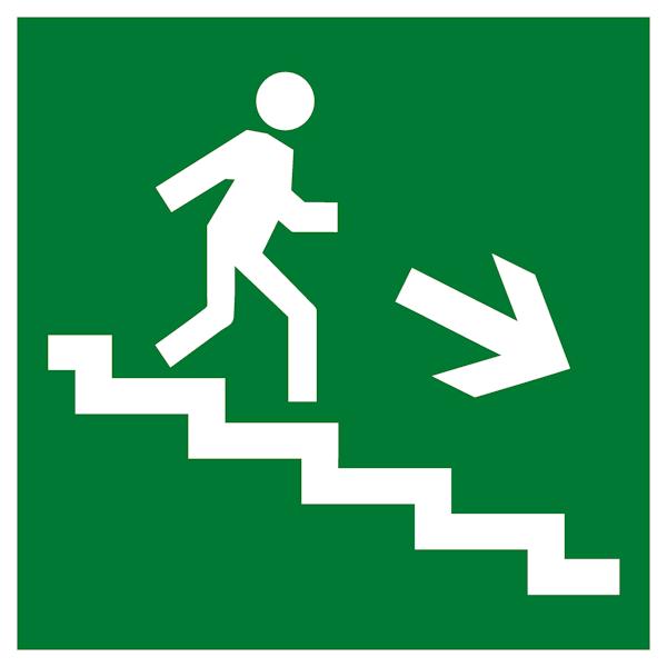 Эвакуационный знак Е13 - Направление к эвакуационному выходу по лестнице вниз направо