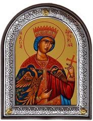 Екатерина Александрийская Святая Великомученица. Икона в серебряной раме.