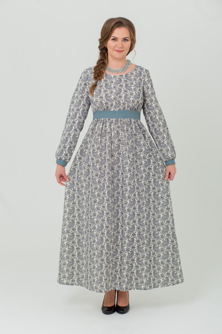 Платье льняное Славное с орнаментом огурцы