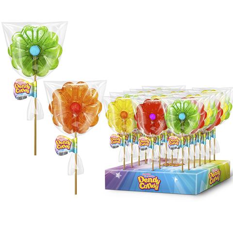 Леденцовая карамель на палочке Ромашка с жевачкой  Dendy Candy 1кор*4бл*30шт 40гр