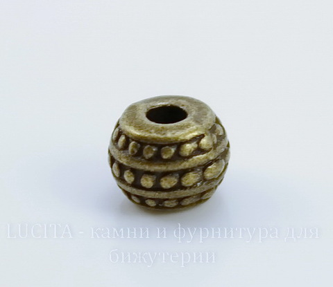 """Бусина металлическая - рондель """"Бусинки"""" 7х5 мм (цвет - античная бронза), 10 штук"""