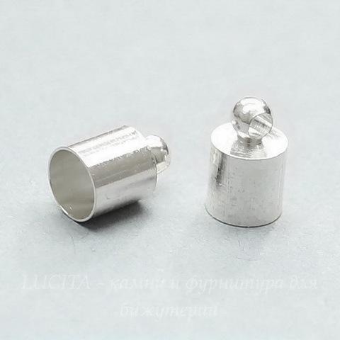 Концевик для шнура 5,5 мм, 10х6 мм (цвет - серебро), 2 штуки