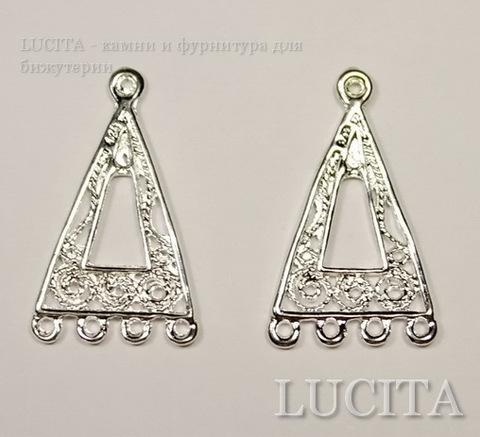 "Коннектор ""Треугольник"" (1-4) 25х14 мм (цвет - серебро), ПАРА"
