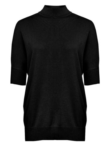Черный джемпер свободного силуэта из шёлка с кашемиром - фото 2