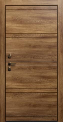 Входная дверь «Linea 2» в цвете, Дуб коньяк (натуральный шпон)
