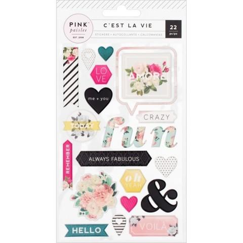 Объемные пластиковые стикеры C'est La Vie от Pink Paislee