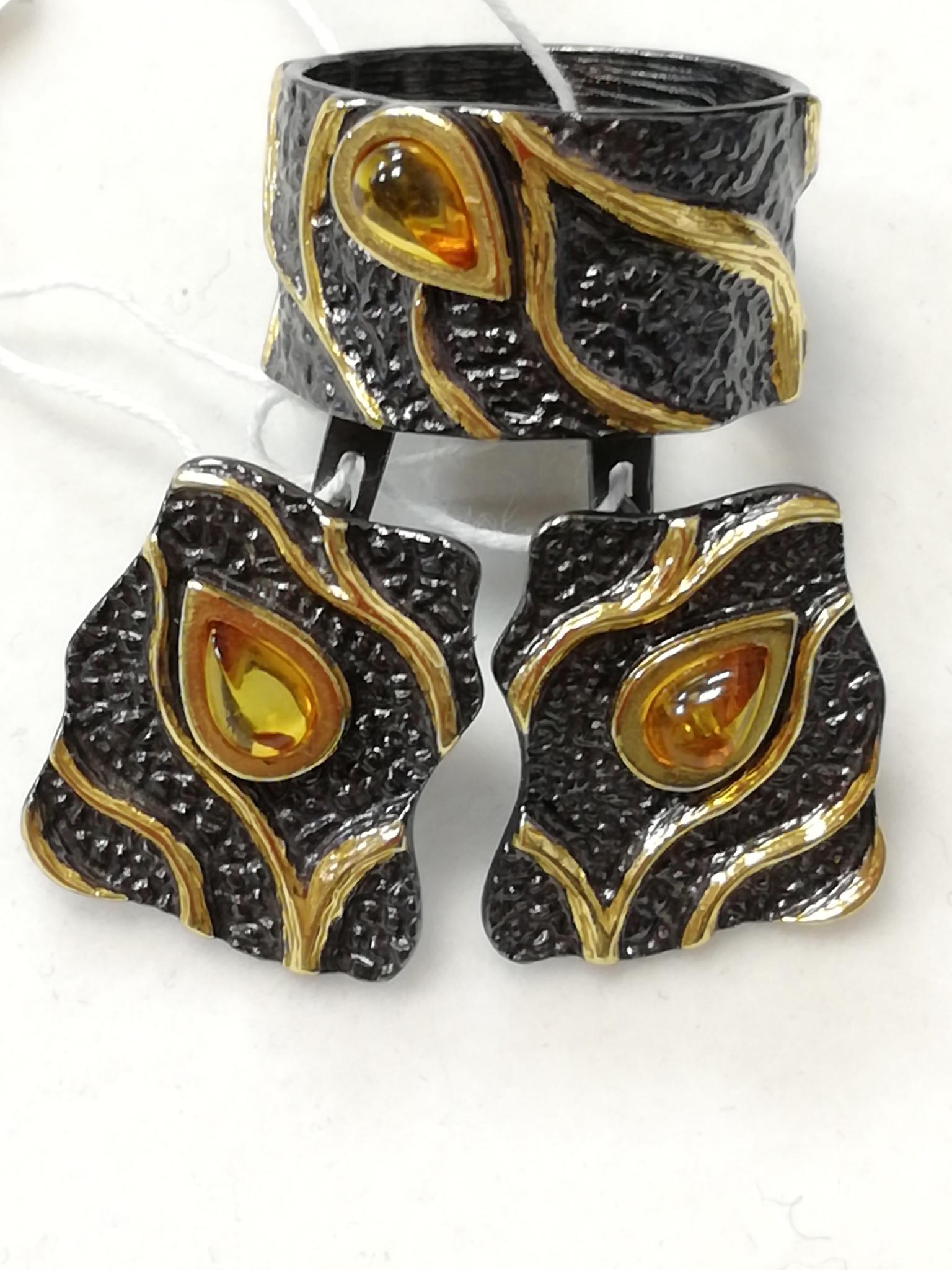 Тейма-черный (кольцо + серьги из серебра)