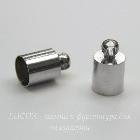 Концевик для шнура 5,5 мм, 10х6 мм (цвет - платина), 2 штуки
