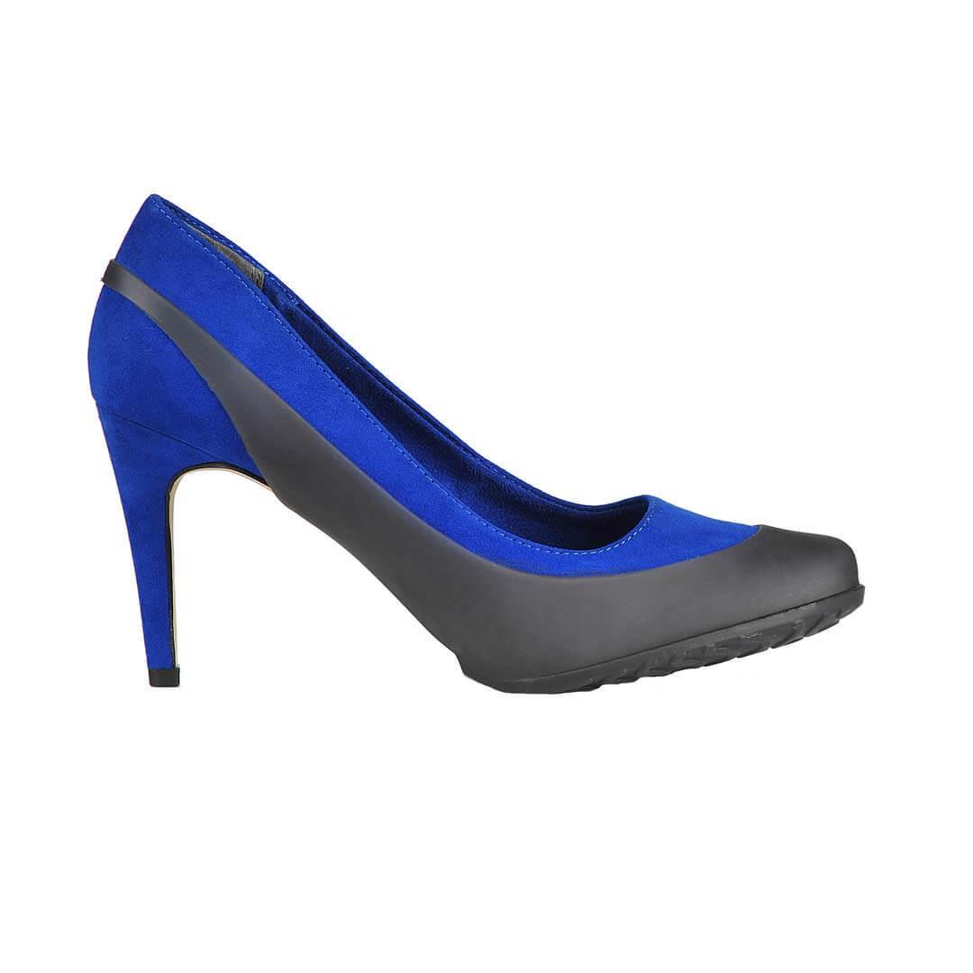 Туфли галоши женские для обуви на каблуке серые прозрачные