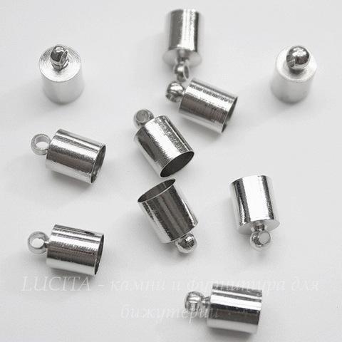 Концевик для шнура 5,5 мм (цвет - платина) 10х6 мм, 10 штук