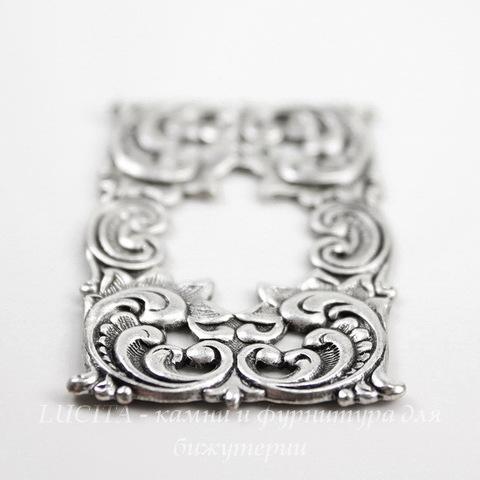 Винтажный декоративный элемент - рамка 47х28 мм (оксид серебра)