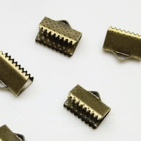 Концевик для лент 10 мм (цвет - античная бронза), 10 штук