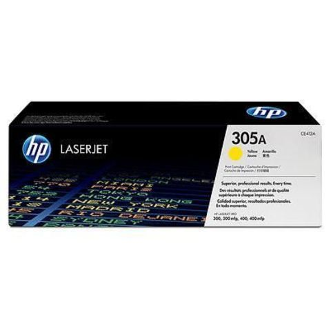 Картридж HP CE412A (HP 305A) для принтеров HP LaserJet Pro color M351a, M375nw, M451dn, M451dw, M451nw, MFP M475dn, M475dw (жёлтый, 2600 стр.)