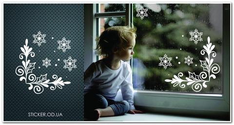 Набор новогодних наклеек на окно