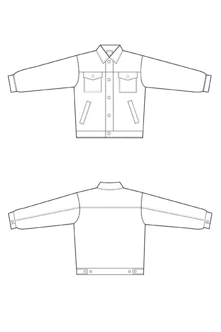 Выкройка рабочего костюма с полукомбинезоном, куртка тех рисунок