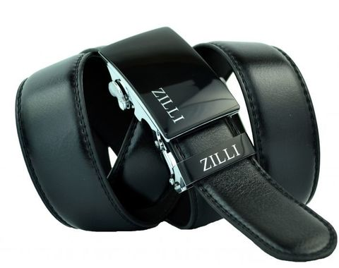 Ремень мужской брючный чёрный из искусственной кожи 35 мм с автоматической пряжкой Zilli (копия) 35Brend-A-KZ-026