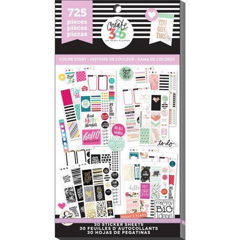 Блокнот со стикерами для ежедневника Create 365 Happy Planner Sticker Value Pack- Classic Color Way. 725 шт