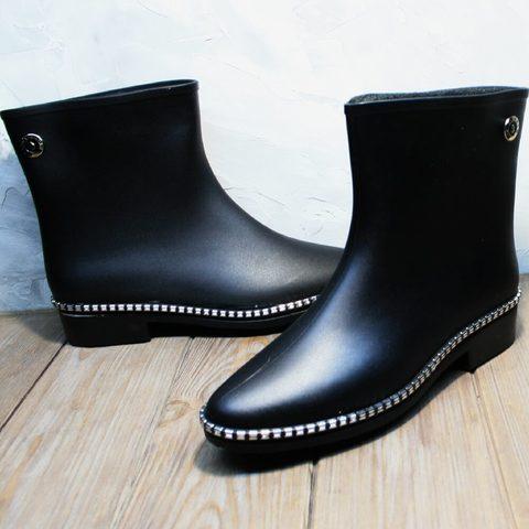 Короткие резиновые сапоги женские утепленные. Современные резиновые сапоги для города HRS 1019 Black