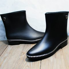 Резиновые сапоги женские короткие Hello Rain Story 1019 Black