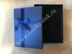 Подарочная коробочка, Цвет Синий, с атласной лентой. Размер 16х12х3,5 см.