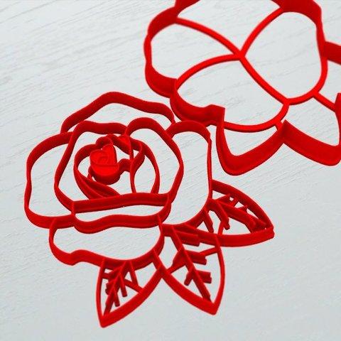 Роза с листочками форма для пряника