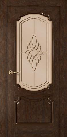 Дверь Румакс Премьера ДО, стекло сатинат бронза гравировка, цвет каштан, остекленная