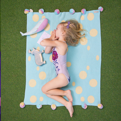 """Blue """"Circus"""" blanket, Small Size"""