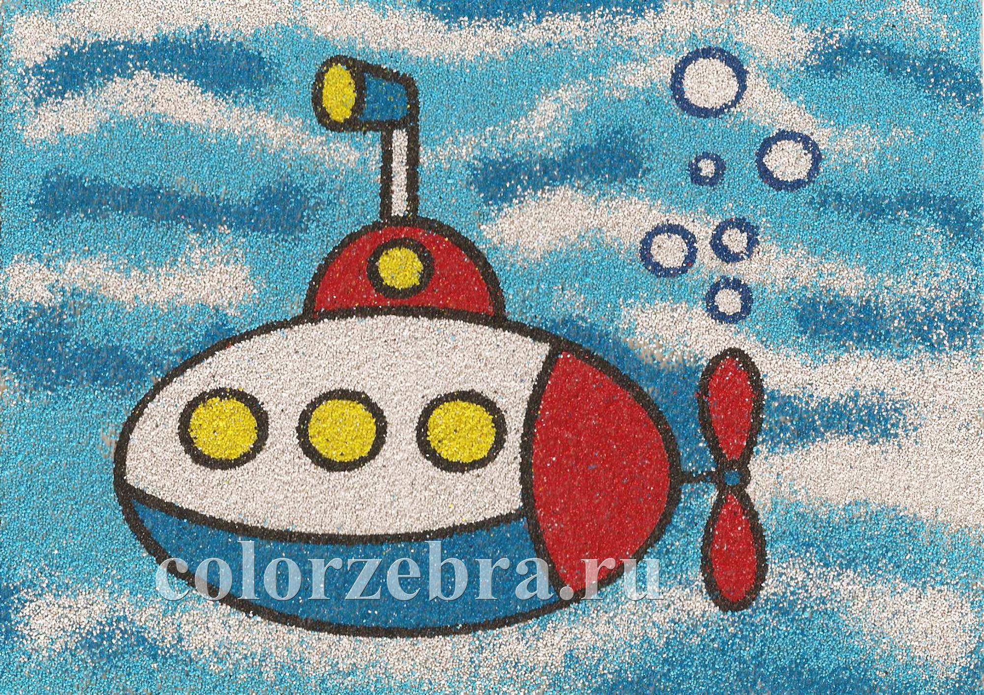 Трафарет для песочной картины Подводная лодка А4