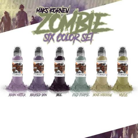 Краска World Famous Tattoo Ink MAKS KORNEV'S ZOMBIE COLOR SET - 6шт