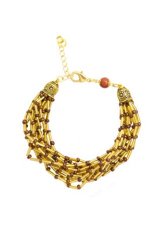 Бисерный браслет золотисто-коричневый Facilità Gold Topaz