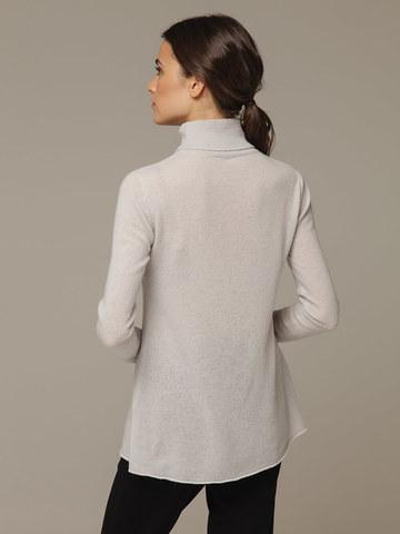 Женский серый джемпер с высоким горлом из 100% кашемира - фото 2