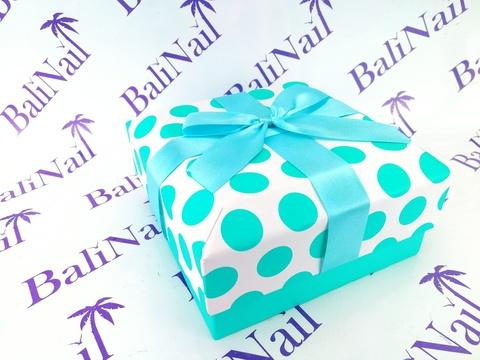 Коробка подарочная квадратная с бантом, 14x14x6,5см, белый/бирюзовый/горох