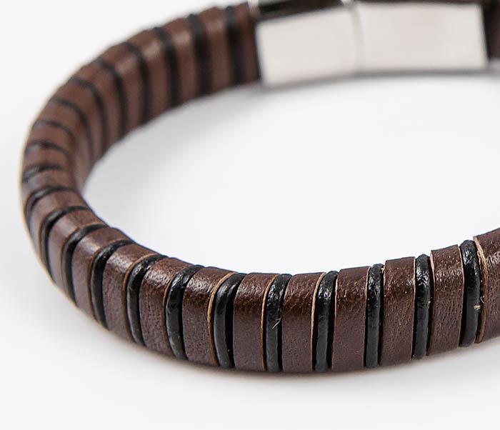 BM533-2 Мужской браслет из кожаной полосы и шнура фото 04