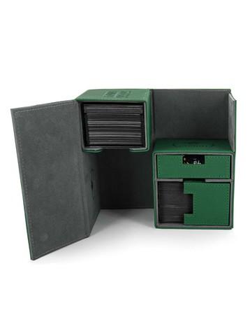 Ultimate Guard - Двойная кожаная зеленая коробочка с отделением для кубиков