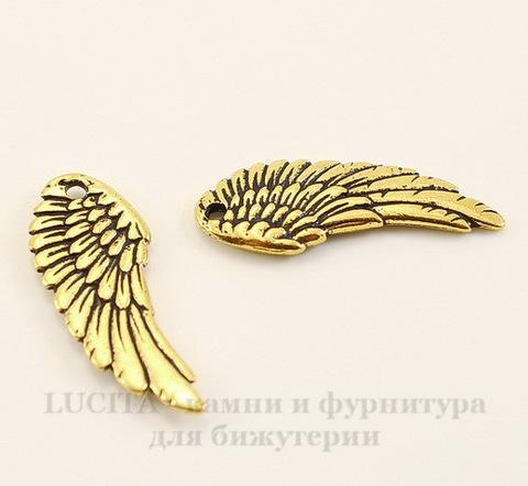 """Подвеска TierraCast """"Крыло"""" (цвет-античное золото) 28х11 мм"""