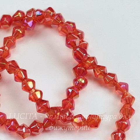 Бусина стеклянная, биконус, цвет - красный с AB-покрытием, 4 мм, нить