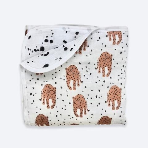 Муслиновое утеплённое одеяло Mjölk Леопарды