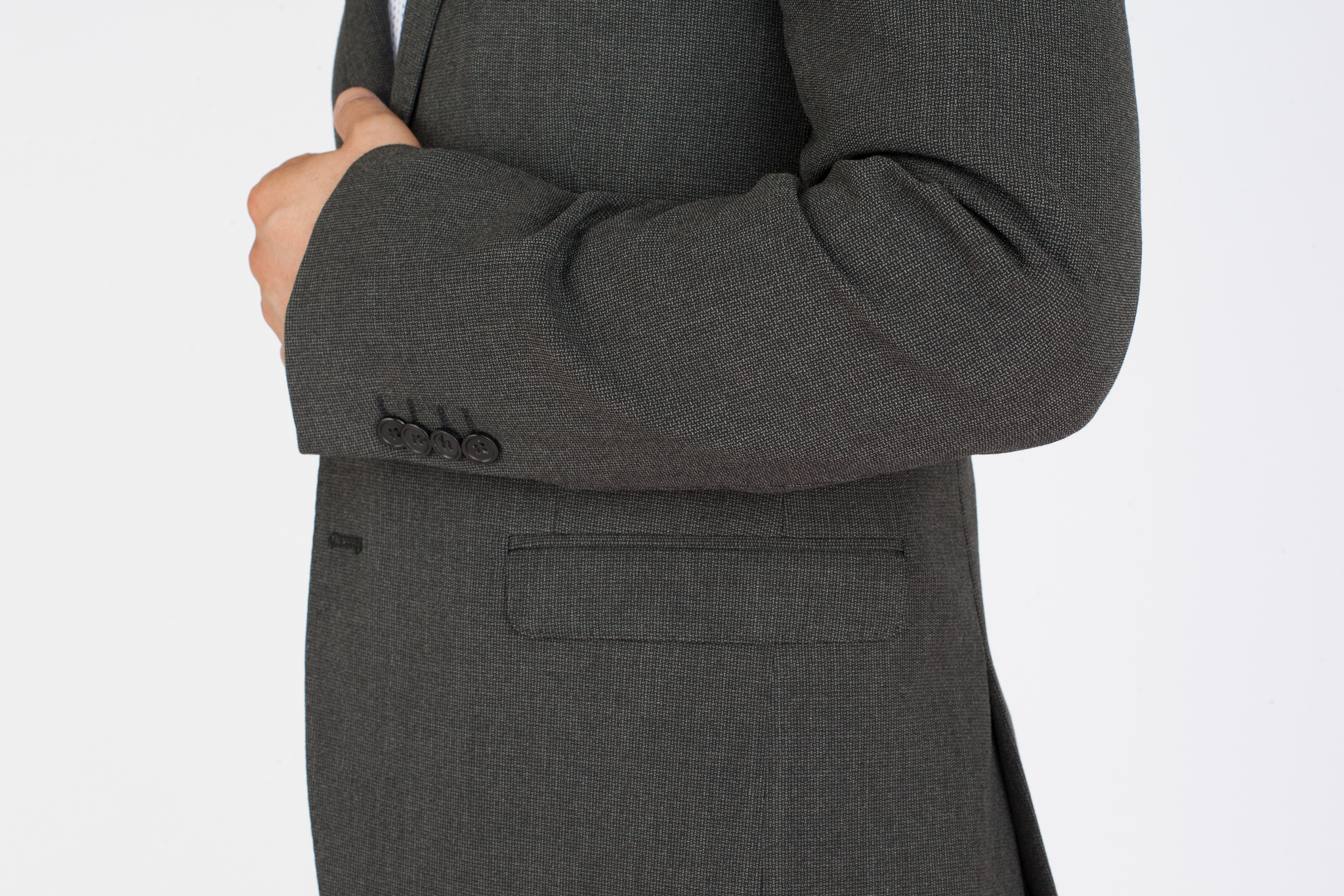 Серый шерстяной пиджак, накладной карман