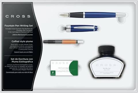 Набор Cross Bailey: перьевая ручка, конвертер, 3 картриджа, флакон чернил. Цвет - глянц. синий