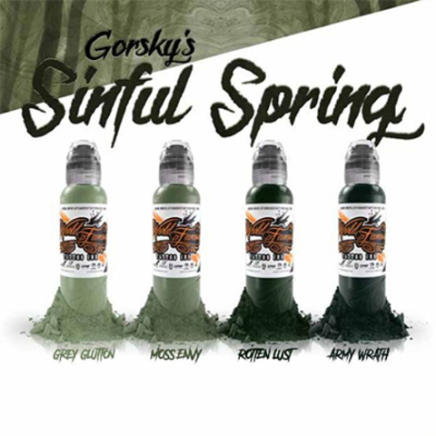 Краска World Famous Tattoo Ink Damian Gorski Sinful Spring Set 4шт