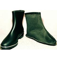 Резиновые сапоги с носком женские короткие Hello Rain Story 1019 Black
