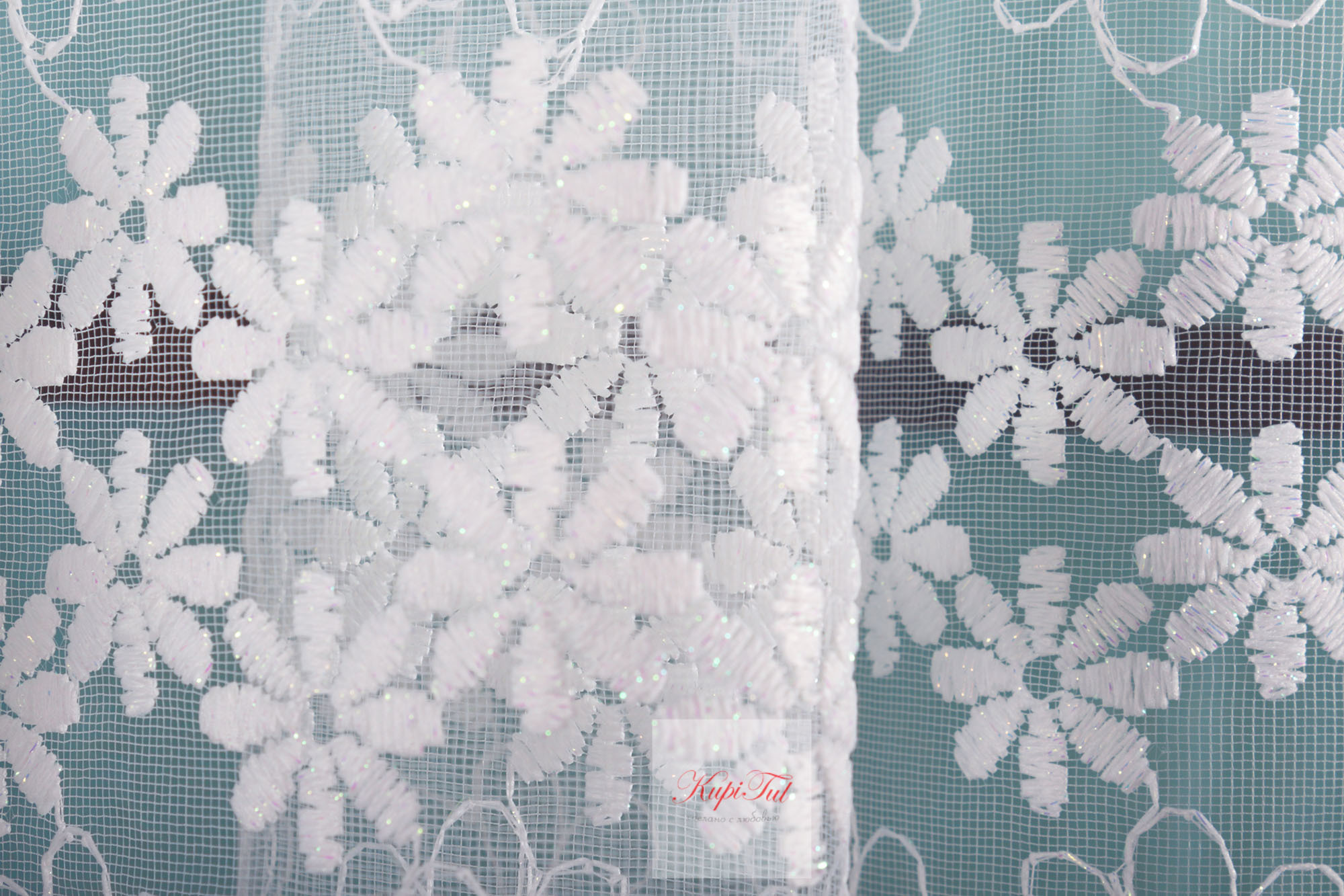 Тюль сетка с вышивкой Ромашки-2 (молочный)