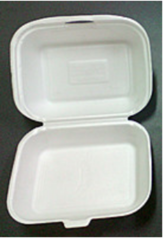 Ланч-бокс белый из вспененного полистирола б/д с крышкой 240*210*70 мм.