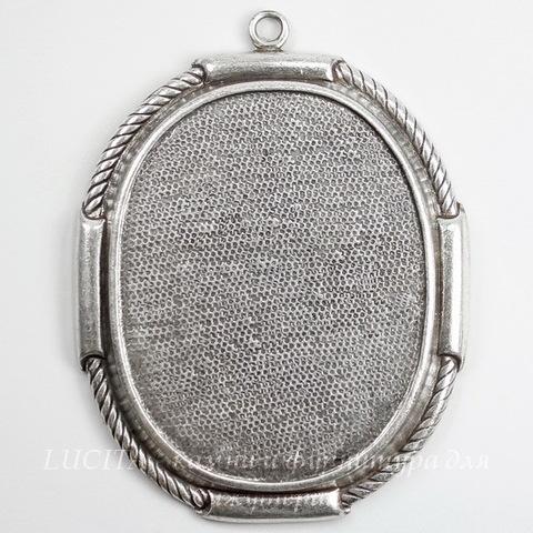 Сеттинг - основа - подвеска для камеи или кабошона 41х31 мм (оксид серебра)
