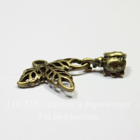 """Подвеска """"Листик с жучком"""" 17х16 мм (цвет - античная бронза)"""