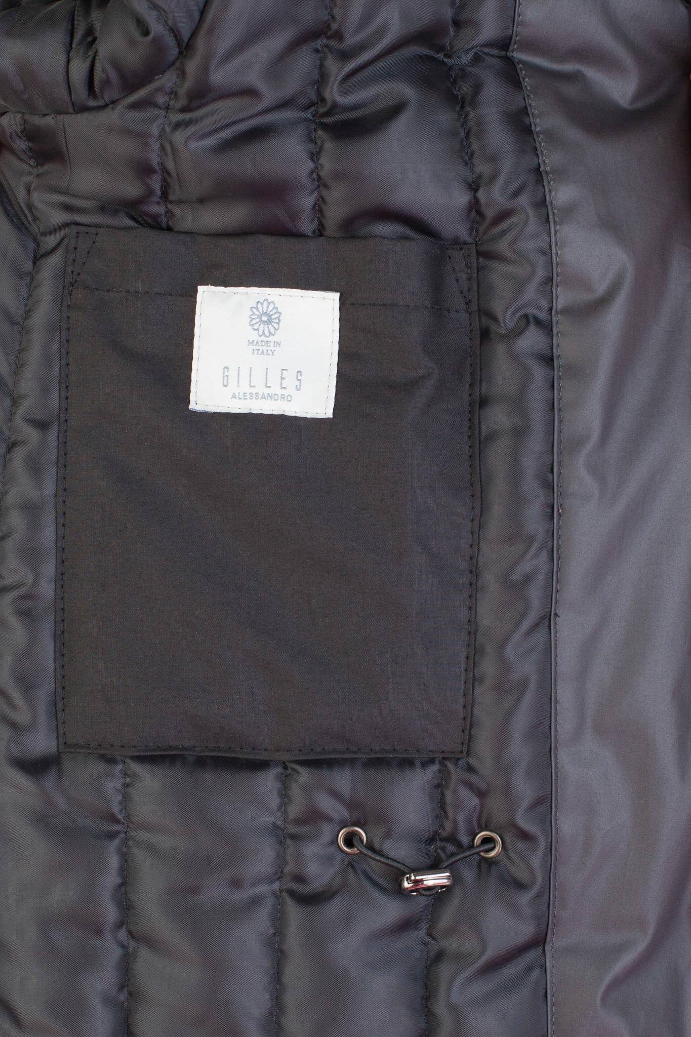 Серо-коричневая хлопковая куртка с капюшоном, внутренний карман