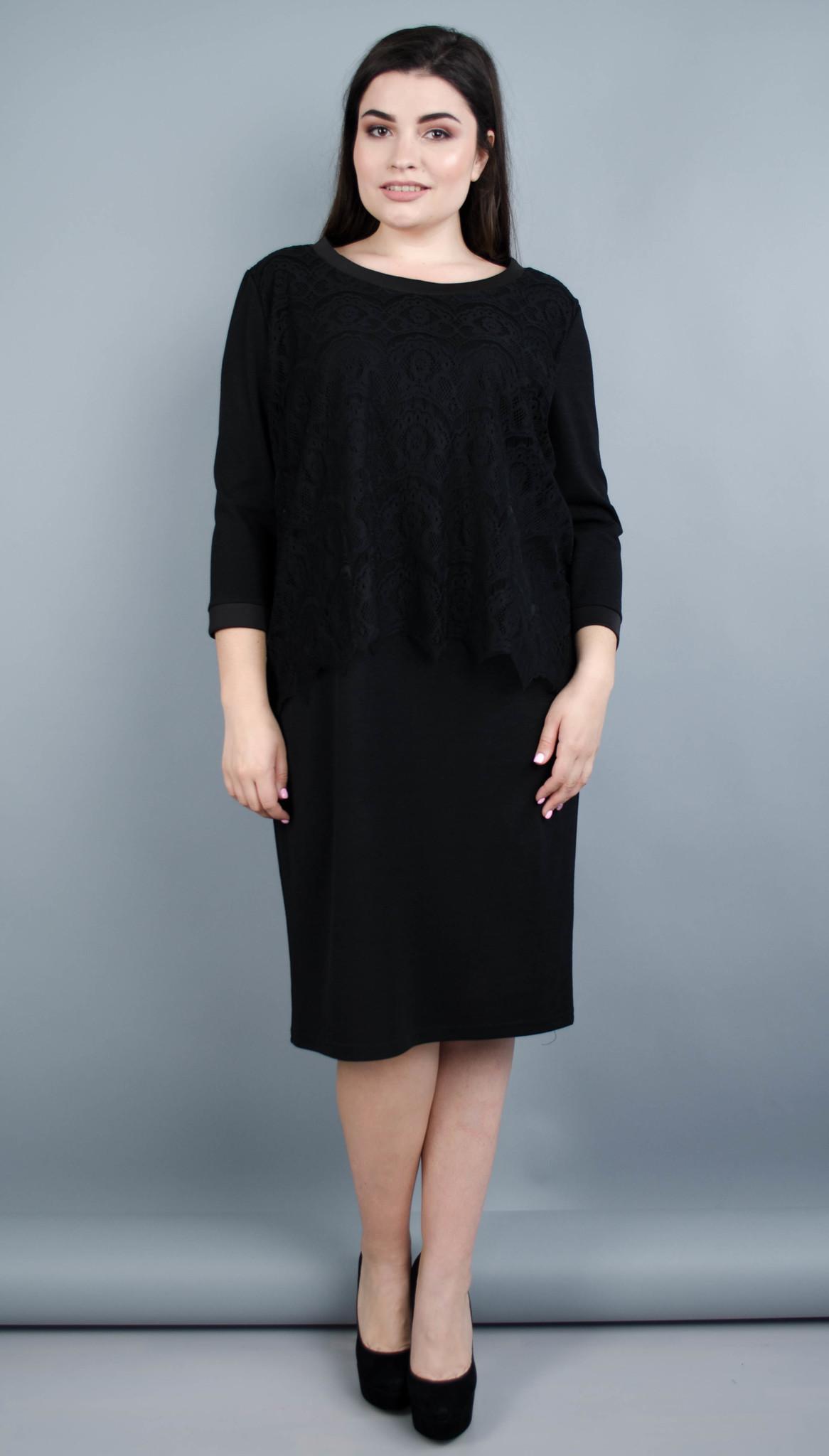 Вінтаж. Оригінальна жіноча сукня плюс сайз. Чорний.