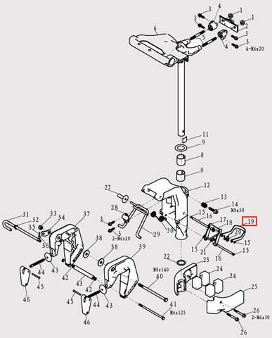 Рокер самоблокирующий для лодочного мотора F9.8 Sea-PRO (13-19)