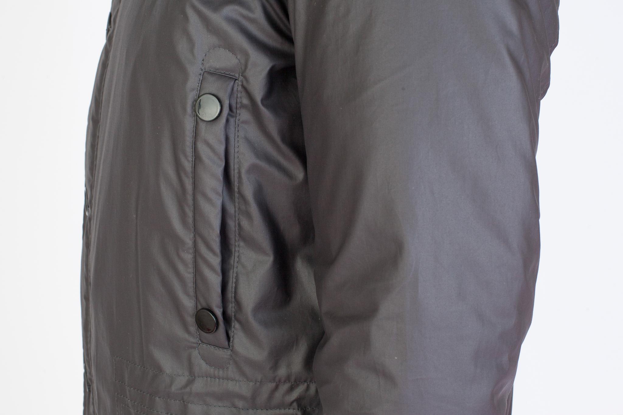 Серо-коричневая хлопковая куртка с капюшоном, накладной карман